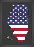 Illinois mapa z Amerykańską flaga państowowa ilustracją Obraz Stock