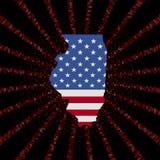 Illinois mapy flaga na czerwonej hex kodu wybuchu ilustraci Fotografia Stock