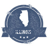 Illinois mark. Travel rubber stamp with the name and map of Illinois, vector illustration. Can be used as insignia, logotype, label, sticker or badge of USA stock illustration
