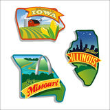 Illinois Missouri Iowa vector illustrations designs US series. Retro luggage stickers of States Royalty Free Stock Images