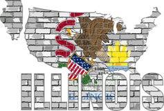 Illinois na ściana z cegieł Zdjęcie Stock
