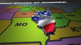 Illinois pull out from USA states abbreviations map. State Illinois pull out from USA map with american flag on background. A map of the US showing the two stock footage