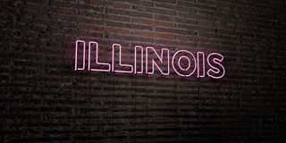 ILLINOIS -Realistic Neon Sign on Brick Wall background - 3D rendered royalty free stock image Stock Image