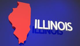 Illinois Red State Map IL Word Name Royalty Free Stock Photos