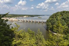 Illinois River Dam. A scenic view of a dam on the Illinois River stock photos