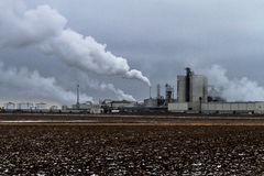 Illinois River Ethanol Production Plant. Air pollution from Illinois River Ethanol Production Plant on winter day in central Illinois Stock Images