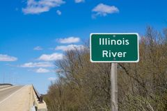 Illinois River street sign. `Illinois River` sign on the side of Shipping Port Bridge outside LaSalle, Illinois, USA royalty free stock images