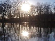 Illinois river. Sunset night evening reflection royalty free stock image