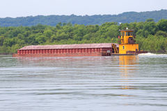 Illinois River Tug and Barge Stock Photo