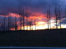 Illinois Sky at Sunset. Sunset near Pittsfield, Illinois, early spring Royalty Free Stock Images