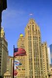 Illinois stanu flaga, USA flaga i Chicago flaga, Fotografia Royalty Free