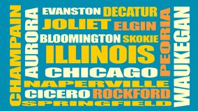 Illinois state cities list Stock Photos