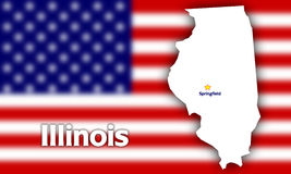 Illinois state contour. With Capital City against blurred USA flag Stock Photo