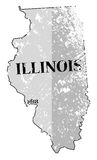 Illinois State and Date Map Grunged Royalty Free Stock Photo