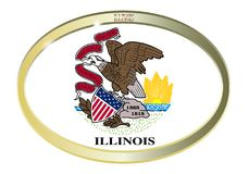 Illinois State Flag Oval Button. Oval metal button with the Illinois flag isolated on a white background Royalty Free Stock Images