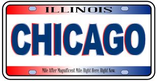 Illinois State License Plate Chicago City. Illinois state license plate in the colors of the state flag with the flag colors and Chicago city name over a white Stock Image