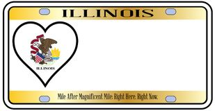 Illinois State License Plate. In the colors of the state flag with the flag icons over a white background Stock Photo