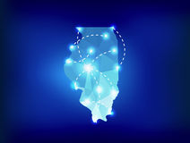 Illinois state map polygonal with spotlights places Stock Photos