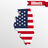 Illinois State map with US flag inside and ribbon Stock Photo