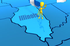 Illinois state outline with yellow stick figure Stock Photography