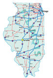 Illinois State Road Map Royalty Free Stock Photos