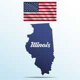 Illinois state with shadow with USA waving flag Stock Photo