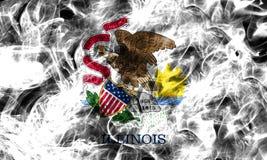 Illinois state smoke flag, United States Of America.  Royalty Free Stock Images