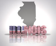 Illinois State. Word Illinois with National Flag of USA near map State Stock Image