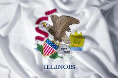 Illinois. Stylish waving and closeup flag illustration. Perfect for background or texture purposes royalty free illustration