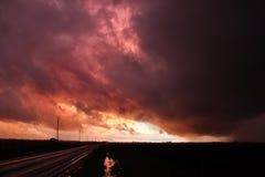 Illinois Thunderstorm Sunset Stock Photo