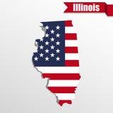 Illinois tillståndsöversikt med den inre USA-flaggan och bandet Arkivfoto