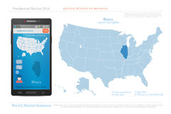 Illinois. United States of America maps and Illinois state territory.  USA political map. US election assistance app for smart phone. technology banner Royalty Free Stock Image