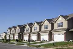 Illinois, United States - circa 2014 - New Residential Attached Row Housing Subdivision Development wit. New Residential Attached Row Housing Subdivision royalty free stock photo