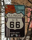 Illinois US 66 Route Sign Stock Images