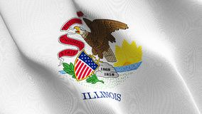 Illinois US State flag waving on wind. United States of America Illinois background fullscreen flag blowing on wind. Realistic fabric texture on windy day Royalty Free Stock Photos