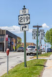 Illinois, USA- May 19, 2014. Direction information roadsign. Illinois, USA- May 19, 2014. Direction information road sign in Illinois city Stock Photos