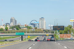 Illinois, USA- May 19, 2014. Highway to downtown. Illinois, USA- May 19, 2014. Highway to downtown of Illinois Stock Image