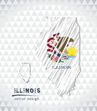 Illinois vector map with flag inside isolated on a white background. Sketch chalk hand drawn illustration stock illustration