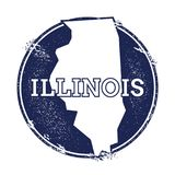 Illinois vector map. Grunge rubber stamp with the name and map of Illinois, vector illustration. Can be used as insignia, logotype, label, sticker or badge of Stock Photo