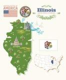 Illinois vector postcard. Map. US state. United States of America. Map and flag. Illinois vector postcard. US state. United States of America. Colorful design royalty free illustration