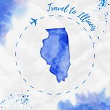 Illinois watercolor us state map in blue colors. Royalty Free Stock Photos