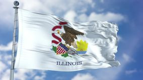 Illinois Waving Flag. Illinois U.S. state flag waving against clear blue sky, close up, isolated with clipping path mask luma channel, perfect for film, news Royalty Free Stock Photos