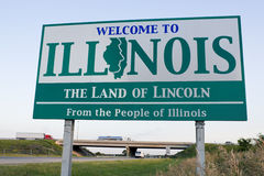 Illinois Welcome Sign. Spring time Stock Images