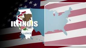 Illinois widersprach Flagge und Informationstafel stock video