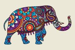 Illistration colorato elefante decorato indiano illustrazione vettoriale
