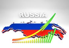 Illistration of Russia map. 3D illistration of Russia map with flag Stock Image