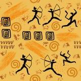 Illistration van rots het schilderen De mens van holtekeningen en van de dierenantropologie primitief de schilderijen naadloos pa vector illustratie