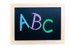 Illiteracy. Painting of the letters abc on a chalkboard Stock Images