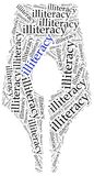 Illiteracy problem concept. Word cloud illustration. Royalty Free Stock Images