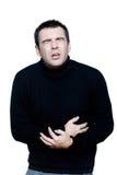 Illlness dello spasmo dello stomachache dell'uomo immagine stock